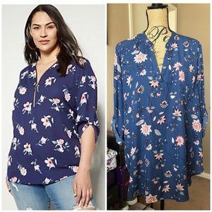 • blue floral blouse •